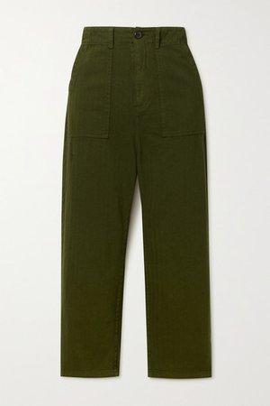 The Ranger Herringbone Cotton Pants - Dark green