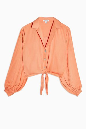 Coral Satin Tie Front Shirt | Topshop