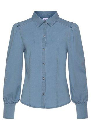 Blue Button Up Denim Blouse, High Waisted Pants