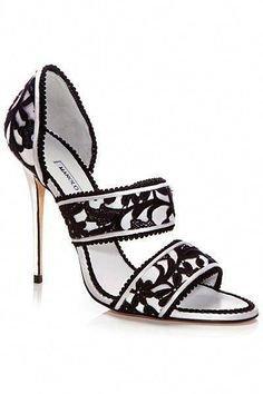 Manolo Blahnik (25) Pinterest - Manolo Blahnik Black & White Sandal Spring-Summer 2014 #Manolos #Shoes #Heels #manoloblahnik2016 #manoloblahniksan | Boots and Shoes and Things | ShopLook