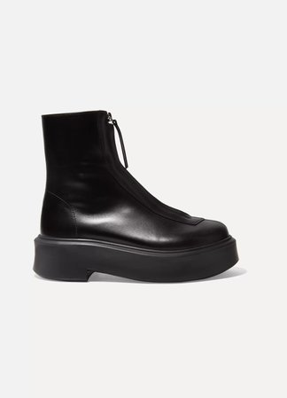 Black Leather ankle boots | The Row | NET-A-PORTER
