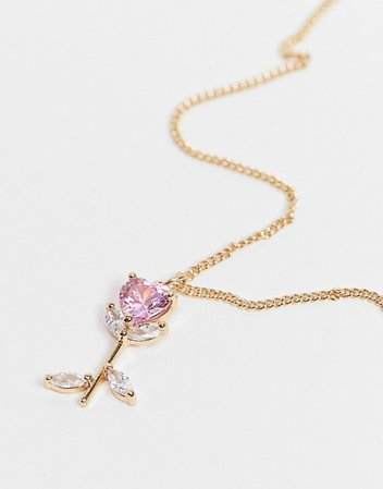 ASOS DESIGN necklace with crystal rose pendant in gold tone | ASOS