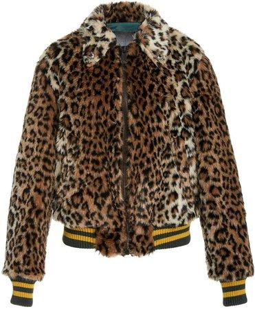 R13 Leopard-Print Faux Fur Bomber Jacket