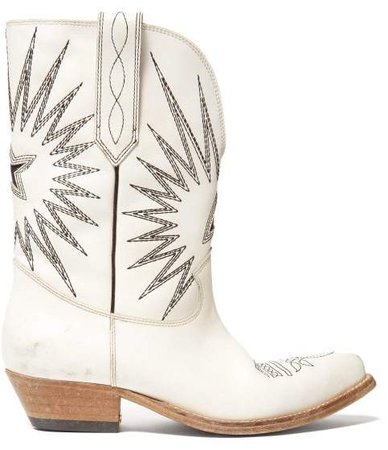 Wish Star Embroidered Leather Boots - Womens - White