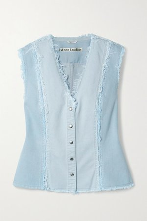 Net Sustain Frayed Patchwork Organic Denim Vest - Light denim