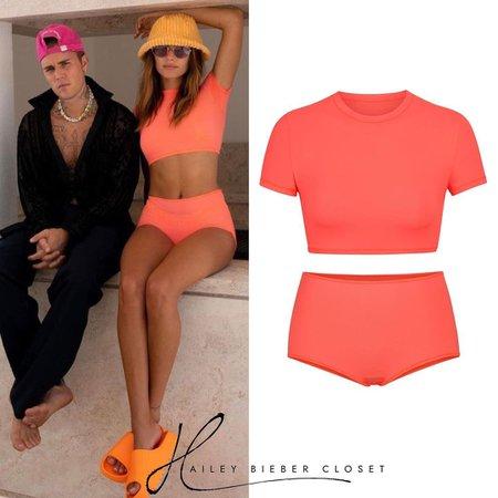Hailey Bieber Closet • SKIMS Fits Everybody Super Cropped T-shirt ($42.00) & Fits Everybody Boy Shorts ($22.00)