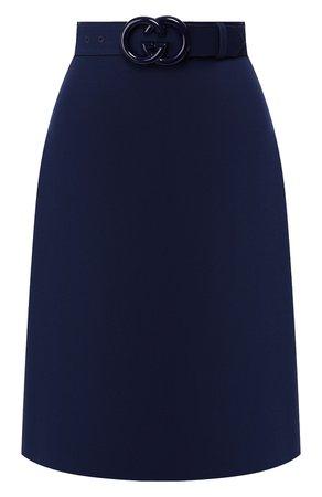 Женская синяя юбка из смеси шерсти и шелка GUCCI — купить за 99000 руб. в интернет-магазине ЦУМ, арт. 577793/Z8ADY