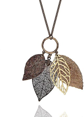 Amazon.com: POMINA Gold Silver Two Tone Filigree Leaf Pendant Long Necklace Chic Pendant Chain Necklace for Women (Worn Choco Gold): Jewelry