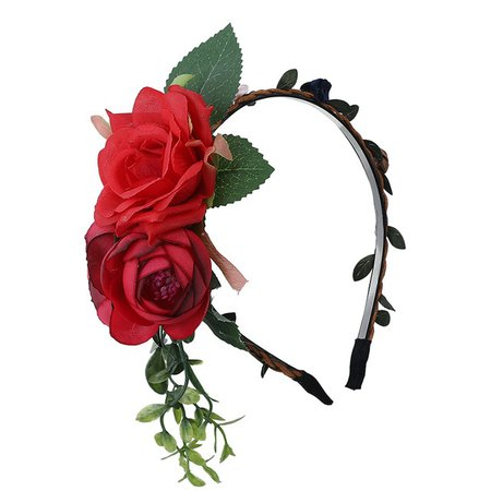 AWAYTR Flower Hairband Rose Headband for Women Girls Hair Accessories Leaves Crown Spring Bridal Headwear Floral Headdress-in Women's Hair Accessories from Apparel Accessories on AliExpress