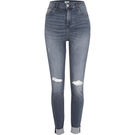 Grey rip high rise skinny jeans | River Island