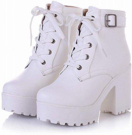 Amazon.com | Latasa Women's Lace up Block Heel Platform Ankle Boots | Ankle & Bootie