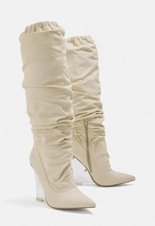 Beige Clear Wedge Slouch Boot | Missguided