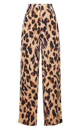 Leopard Print Satin Wide Leg Trousers | PrettyLittleThing
