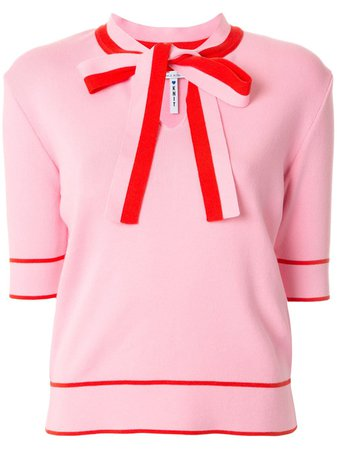MSGM pussybow collar short-sleeved top pink
