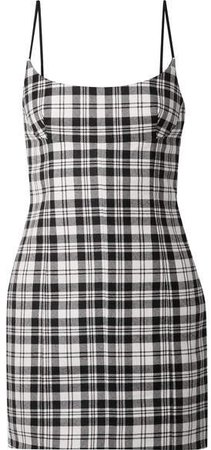 Tartan Wool Mini Dress - Black
