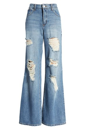Prosperity Denim Destroyed High Waist Nonstretch Wide Leg Jeans (Carla) | Nordstrom