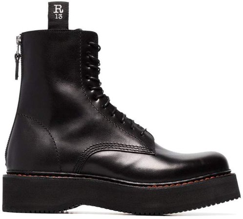 Black Single Stack 40 Leather Boots