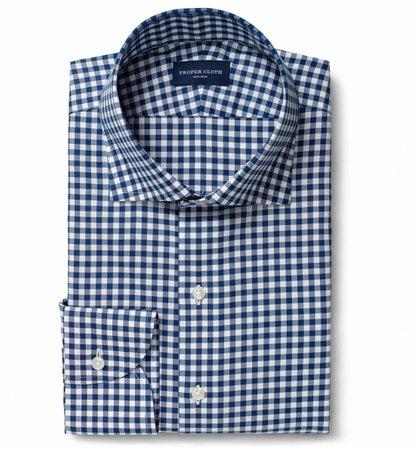 Non-Iron Supima Navy Blue Gingham Dress Shirt by Proper Cloth