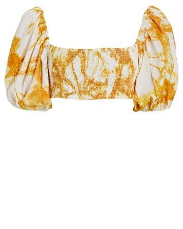 SWF Smocked Tie-Dye Puff Sleeve Crop Top   INTERMIX®