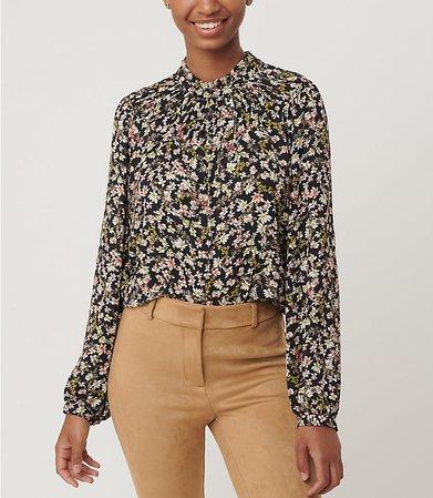 Floral Shirred Ruffle Blouse | LOFT