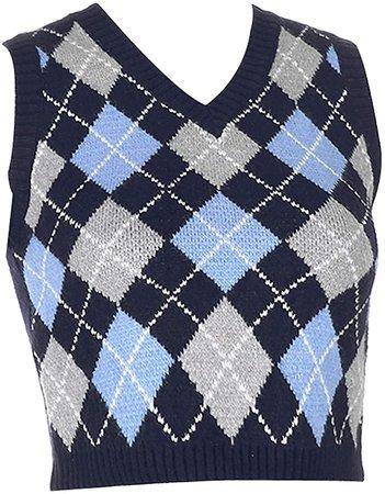 Amazon.com: Women 's Y2K V Neck Sweater Vest E-Girls CropKnitwearArgyle Plaid Preppy Slim Fit Knitted Tank Tops (Dark Blue, S): Clothing