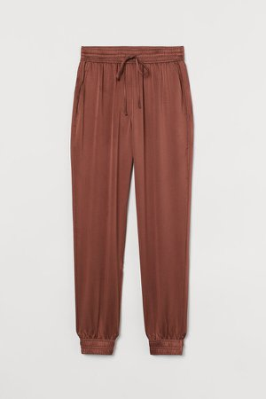 Pull-on Silk Satin Pants - Red