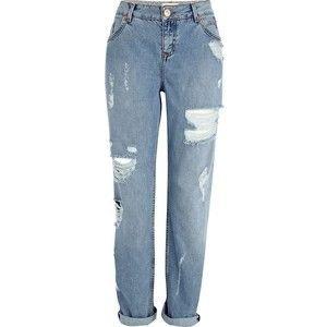 River Island Light wash ripped Cassie boyfriend jeans