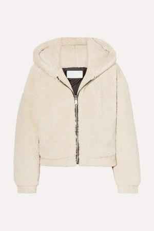 Cropped Hooded Faux Fur Jacket - Beige