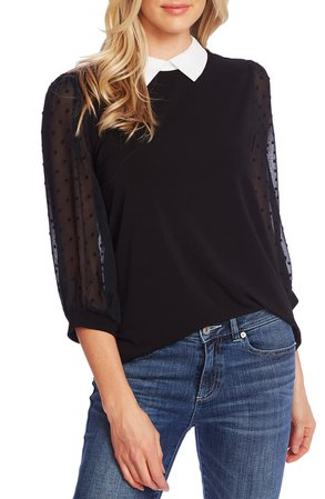 CeCe Collared Clip Dot Sleeve Top | Nordstrom