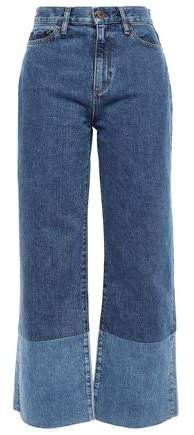 Frayed Two-tone High-rise Wide-leg Jeans