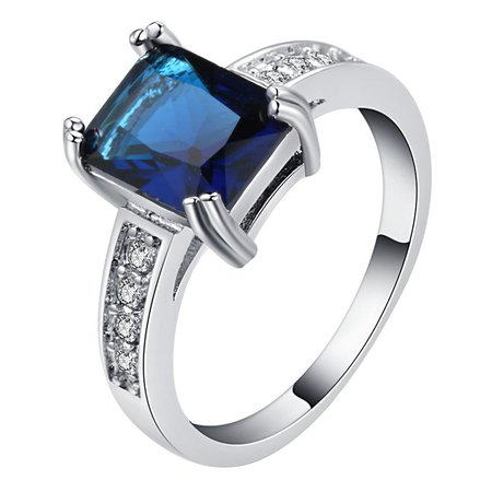Top Quality Square Cut Navy Blue Zircon Stone Rings For Women Fashion Crystal Wedding Ring Female Jewelry L4L030 Gold Rings Eternity Rings From Dracaena, $34.94  DHgate.Com