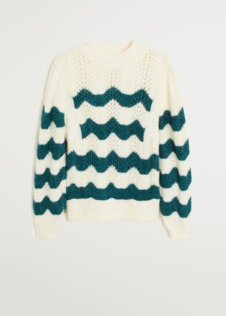 Striped openwork knit sweater - Women | Mango USA