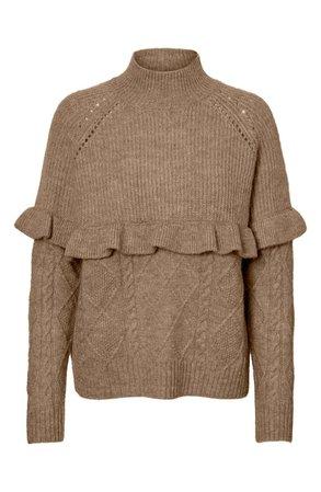 VERO MODA Mock Neck Pointelle Knit & Ruffle Trim Sweater | Nordstrom