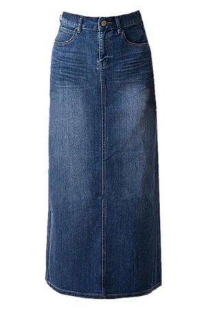 Women's Blue Stretch Back Split Long Pencil A Line Maxi Jean Denim Skirt