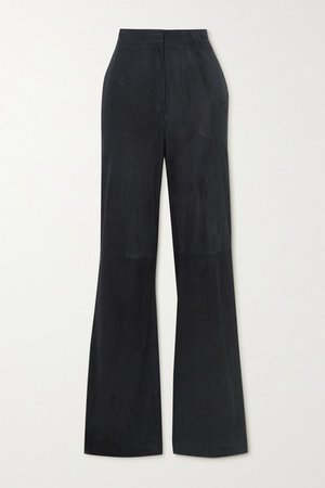 Vesta Suede Wide-leg Pants - Navy