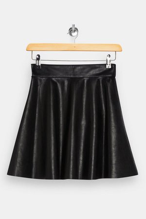 Black PU Flippy Mini Skirt | Topshop