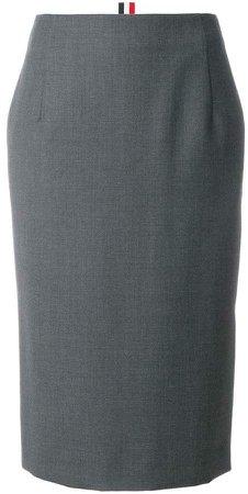 Striped Wool Twill Straight Skirt