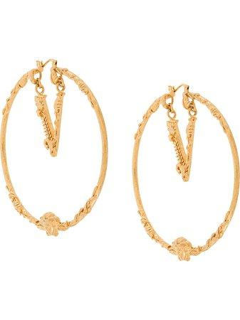 Versace Engraved Hoop Earrings Ss20 | Farfetch.com