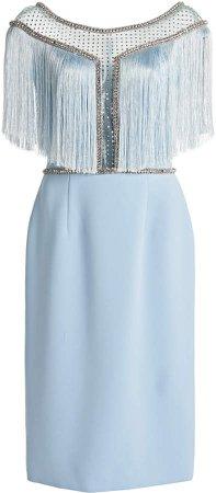Jenny Packham Fringed Satin Dress