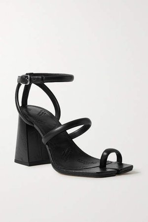 Split-toe Leather Sandals - Black