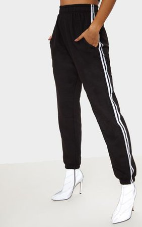 Black Reflective Side Stripe Cuffed Jogger | PrettyLittleThing