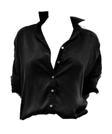 black open silk button down shirt