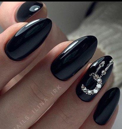 Glossy Black Nails w/ Stoned Moon