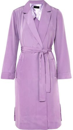 Belted Satin Coat - Lilac