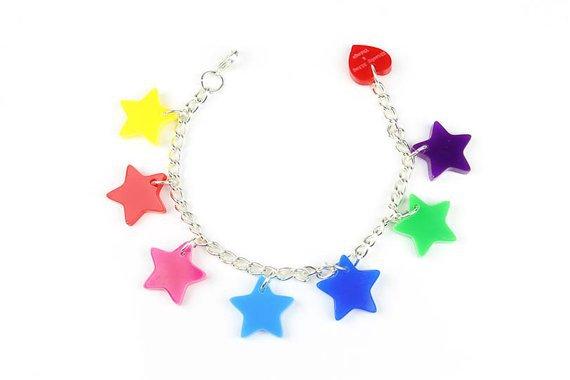 Rainbow Stars bracelet laser cut acrylic bracelet | Etsy