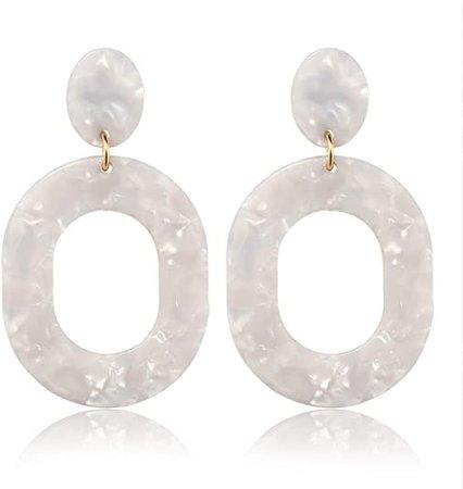 Amazon.com: YAHPERN Acrylic Earrings for Women Girls Statement Geometric Earrings Resin Acetate Drop Dangle Earrings Mottled Hoop Earrings Fashion Jewelry (White): Jewelry
