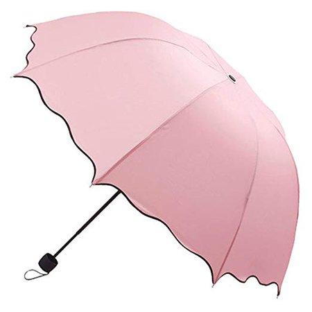 Tonsee® Flouncing Folding Lotus Leaves Princess Dome Parasol Sun/Rain Umbrella (Pink): Amazon.co.uk: Luggage
