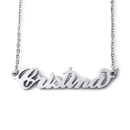 Amazon.com: Italic Name Necklace CRISTINA - Silver Tone: Clothing