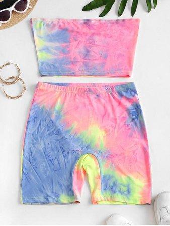 [33% OFF] 2020 Rainbow Tie Dye Bandeau Top And Biker Shorts Set In MULTI-A | ZAFUL