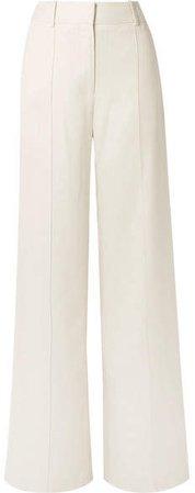 Canvas Wide-leg Pants - Cream